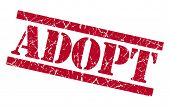 Adopt Red Square Grungy Isolated Rubber Stamp