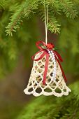 Christmas lace bell with red ribbons
