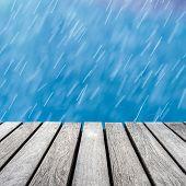 wood walkway and rain background