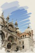 art watercolor background on paper texture with facade of St Mark's basilica in Venice, Italy