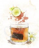Watercolor Digital Painting Of Tea Cup