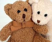 pic of stuffed animals  - Brown and white teddy bears.