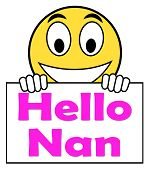 Hello Nan On Sign Shows Message And Best Wishes