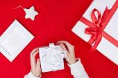 Giftboxes, picture of snowflake and decorative toy star for Christmas