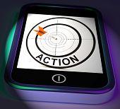 Action Smartphone Displays Acting To Reach Goals