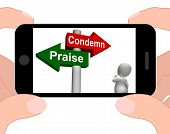 Condemn Praise Signpost Displays Appreciate Or Blame