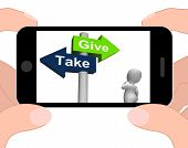Give Take Signpost Displays Giving And Taking