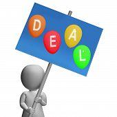 Sign Deal Balloons Represent Discounts Sales Bargains And Hot Deals