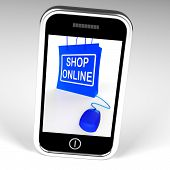 Shop Online Bag Displays Internet Shopping And Buying