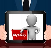 Mystery Book And Character Displays Fiction Genre Or Puzzle To Solve