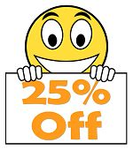 Twenty Five Percent Sign Shows Sale Discount Or 25 Off