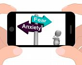 Fear Anxiety Signpost Displays Fears And Panic