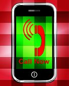 Call Now On Phone Displays Talk Or Chat