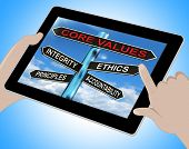 Core Values Tablet Means Integrity Ethics Principals And Accountability