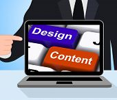 Design And Content Keys Displays Presentation Of Company Advertising