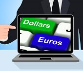 Dollar And Euros Keys Displays Foreign Currency Exchange Online