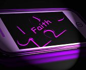 Faith Smartphone Displays Religion Belief And Follower