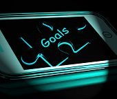 Goals Smartphone Displays Aims Objectives And Targets