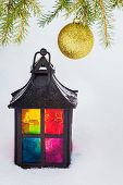 Decorative Lantern  And Fur-tree Branch With Christmas Ball