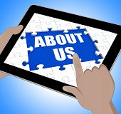 About Us Tablet Shows Contact And Website Information