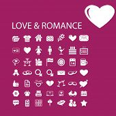 love, romance, wedding icons, signs, illustrations, objects set, vector