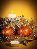 Christmas decorations on abstract background