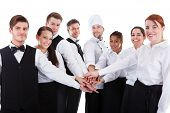 pic of waiter  - Waiters and waitresses stacking hands - JPG