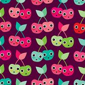 Seamless adorable kids cherry blossom illustration fruit background pattern in vector
