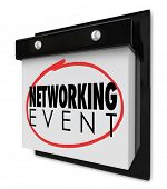 Networking Event words on a wall calendar to remind you of the day or date for a business meeting, c