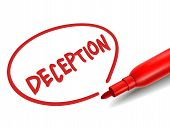 The Word Deception With A Red Marker