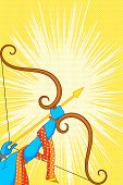 stock photo of dussehra  - vector illustration of Rama with bow and arrow in Happy Dussehra Offer poster - JPG