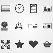 Contour vector icons for online shopping process