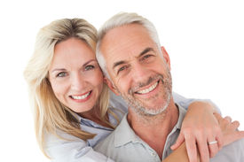 picture of mature adult  - Close up portrait of happy mature couple over white background - JPG