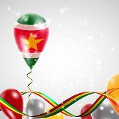 Flag of Suriname on balloon