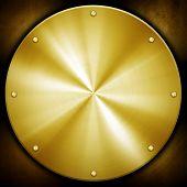 golden knob on metal plate