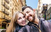 pic of san valentine  - Beautiful Couple taking a selfie photo in San Francisco - JPG