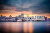 Savannah, Georgia, USA riverfront skyline.