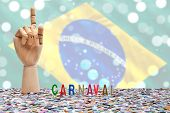 Brazilian Carnival, the first one. Carnival theme with Brazilian flag on the background