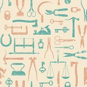 Vintage Tools And Instruments Seamless Pattern 1