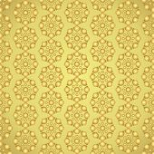 Gold Retro And Modern Flower Pattern On Pastel Background