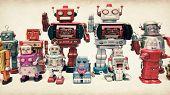 a team of  vintage robot toys