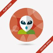 Space Alien Flat Icon With Long Shadow,eps10