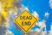 Dead End Street Sign In Sunset