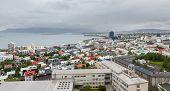 Reykjavik houses and coastline aerial view, Iceland