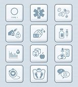 Diabetes health-care life gray icon-set