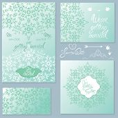 Set Of Wedding Invitation Cards With Floral Elements, Handwritten Calligraphic Text, Background Orna