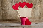 Handmade Skewers With Cloth Hearts And Piece Of Old Paper For Guests For Celebration Of St. Valentin