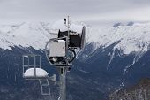 SOCHI, RUSSIA - FEBRUARY 26, 2014: Snow cannon in the mountains, ski resort