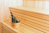 Bucket With Birch Broom In Sauna