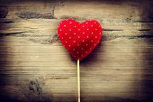 Valentines Vintage Handmade Heart over Wooden Background. Valentine over Wood. Retro Styled Wallpaper. Valentine's Day